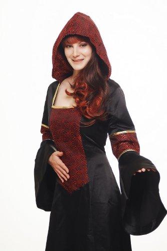 DRESS ME UP – Kostüm Damen Damenkostüm aufwändiges Kleid mit Haube Mittelalter Romantik Elfe Gotik Gothic Burgfräulein Weinrot-Schwarz L076 Gr. 42 / M - 3