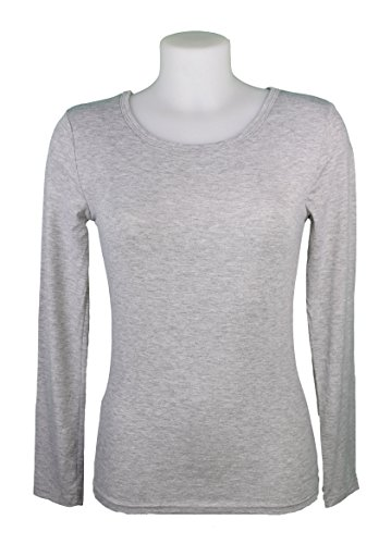 Miss Rouge:T-Shirt, sous Pull Femme à Manches Longues,Viscose Gris