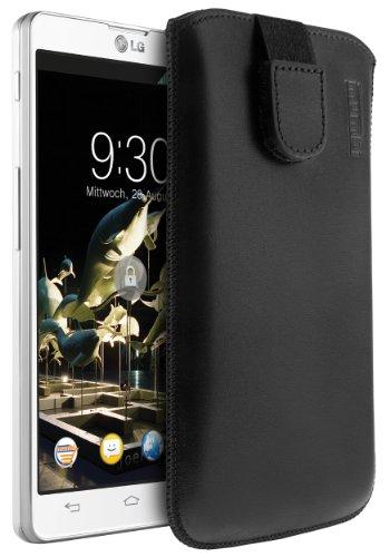 mumbi ECHT Ledertasche LG Optimus L9 II Tasche Leder Etui (Lasche mit Rückzugfunktion Ausziehhilfe)
