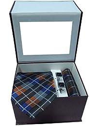 Riyasat - Check Design Multicolor Color Micro Fibre Men,s Tie, Cufflink and Pocket Square Gift Set .(S_ 129)