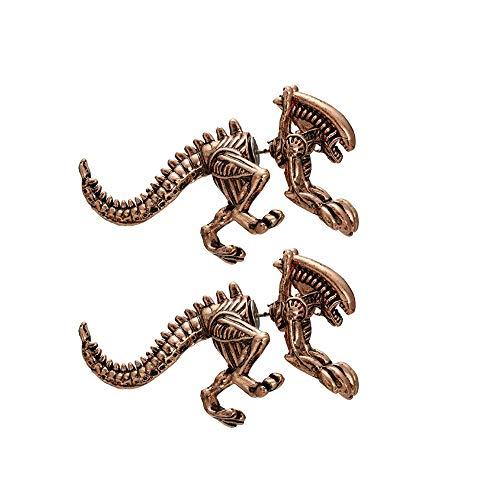 Ohrstecker Silber 925-Kreative Dreidimensionale Dinosaurier Ohrring Piercing-Ohrstecker, Hochwertige Legierung Ohrhänger Hypoallergen, Persönliche Ohrringe für Party Fasching (Bronze) -