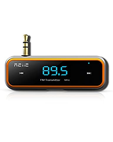 REIIE Wireless Auto-Stream drahtloser FM TransmitterRadio Adapter Auto Kit mit Clip Wireless reden & Music Streaming Dongle + mit 3,5 mm-Audio-Anschluss Aux port (schwarz)