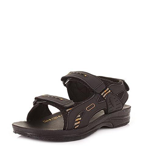 Pour Homme En Cuir Noir Style d'activité veclro Sandales Taille 6–12 - Noir - noir,