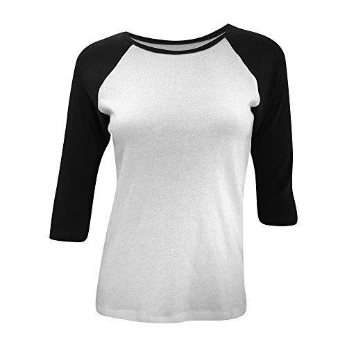 Bella Damen T-Shirt mit halblangen, kontrastfarbenen Ärmeln Weiß/Rot