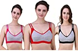 Lenceria Women's Cotton Non-Padded Seamless Non-Wired with Adjustable Straps Bra (Black,Pink,Red, LENCERIA24,25,26,27,28,29_34) - Pack of 3