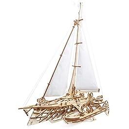 Ugears 70059 3D Trimaran Merihobus Nave Barca a Vela Puzzle in Legno modellismo Gioco di Pensiero Fai da Te Puzzle Giocattolo educativo Set in Legno