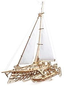 UGEARS Trimarán Merihobus - Puzzle 3D Modelo Mecánico de Madera DIY Maqueta para Construir el Barco