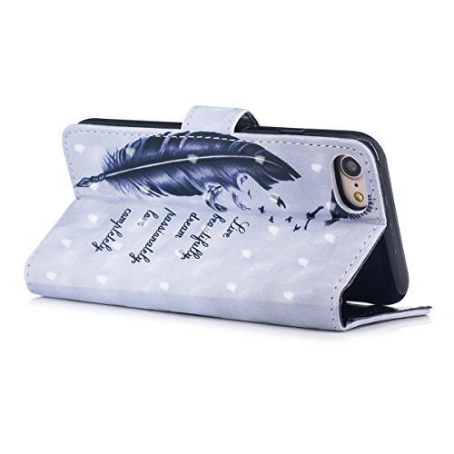 iPhone 7 Custodia, iPhone 8 Cover, JAWSEU iPhone 7/8 Custodia Pelle Portafoglio Lusso 3D Modello Design Creativo PU Leather Wallet Flip Cover Custodia per iPhone 8 Copertura con Morbida Gel Silicone C Piuma Uccello