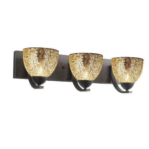 Woodbridge Lighting 13053MEB-M21MIR North Bay 3-Light Bath Bar, 24-Inch by 6-1/2-Inch by 9-1/2-Inch, Metallic Bronze