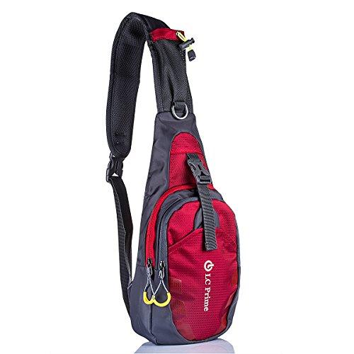 Schleuder Tasche Chest Pack,Multiple Storage Zweck Umhängetasche Tragen Styles, für Outdoor Sportarten Reisen nylon fabric red, by LC Prime