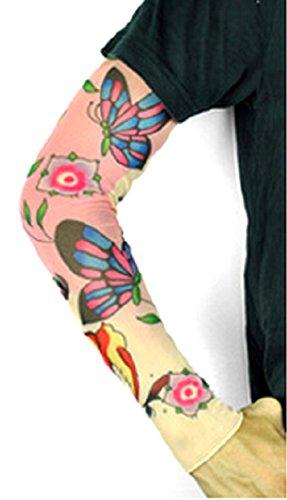 Modello 7 - manicotto tattoo indossabile. manica tatuaggio finto con immagine farfalla fiori rondini. tatoo sleeve mezza manica tribale.