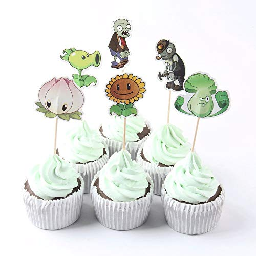 (TopschnaeppchenDSH 12 (2x6) Plants vs. Zombies Deko Cup Cakes Sticks Party Picker Kindergeburtstag)