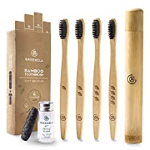 Greenzla Bamboo Toothbrush (4 Pack) with Travel Toothbrush Case & Charcoal Dental Floss   Natural Eco Friendly Toothbrushes for Adults   BPA Free, Soft Bristles & Biodegradable Wooden Toothbrush