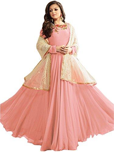 Mordenfab New Pink Women's Faux Gergotte Semi Stitched Party Wear Floor Length...
