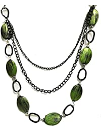 Hilore Green Rosario Long Chain Necklace For Girls & Womens