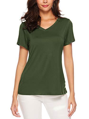 AMORETU Tuniken T-Shirt Damen Sommer Casual Bluse Tops Baumwolle Kurzarm Oberteil, M/DE 38, Olivgrün