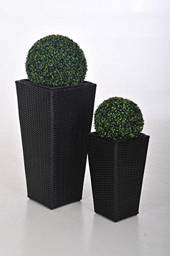 """floristikvergleich.de Blumenkübel Pflanzkübel Pflanzgefäße Übertöpfe Blumentöpfe Polyrattan,""""Classic Design"""",77/50cm schwarz"""
