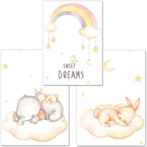artpin® 3er-Set Poster Babyzimmer von Künstlerin - A4 Bilder für Kinderzimmer Mädchen Junge - Elefant,Hase,Regenbogen(P5) - Baby-mädchen-kinderzimmer-fenster-vorhang