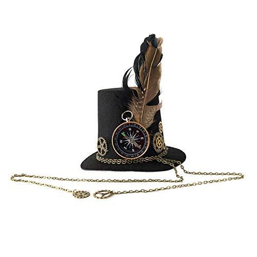 Steampunk gótico Mini Sombrero de Copa de Pelo Accesorios