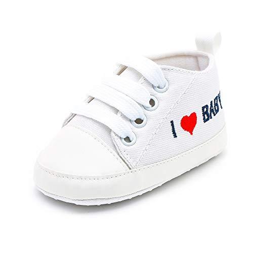 (SUCES Kinder Leinwand Schuhe Anti Rutsch Babyschuhe Weiche Schuhe Sneaker Säugling Junge Mädchen Kleinkind Schuhe Sneaker Freizeitschuhe Schnürhalbschuhe 0~18 Monate)