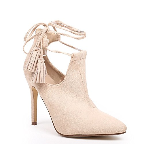 Ideal Shoes – Scarponcini a punta semi-ouvertes effetto camoscio Janane Beige