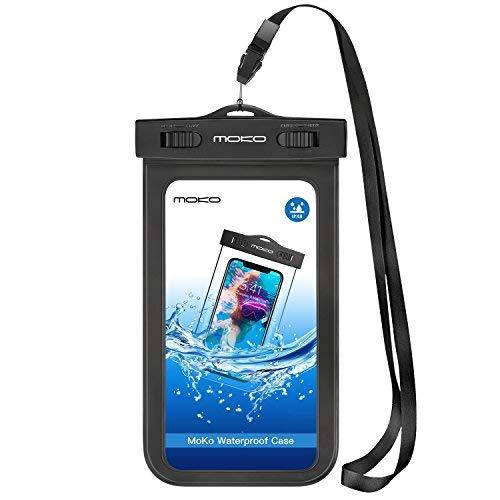MoKo Universal Schutzhülle Tasche wasserdicht mit Umhängeband & Sportarmband für iPhone 5SE/6S Plus/6PLUS/6S/6/5S, Galaxy S7/S7Edge/ZenFone 2/2./LG G Flex 2-IPX8Certified, Schwarz
