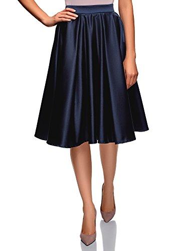 oodji Ultra Mujer Falda Midi de Raso con Forro de Rejilla, Azul, ES 42 / L