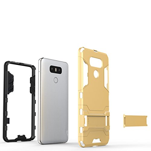 Für LG G6 Case 2 In 1 Dual Layer TPU / PC Defender Hybrid Armor Shock-Absorption Stoßfänger & Anti-Scratch Back Cover mit Stand Shockproof ( Color : Gold ) Gold