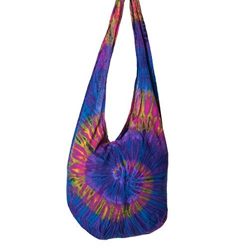 Bunte Tie Dye Batik Schultertasche Hippie Goa Umhängetasche von Kunst und Magie Lila