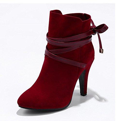 Scarpe da donna in similpelle di moda invernale Stivali Stivali Liane Round Toe stivaletti/stivaletti di mandorla vestito rosso marrone nero Brown