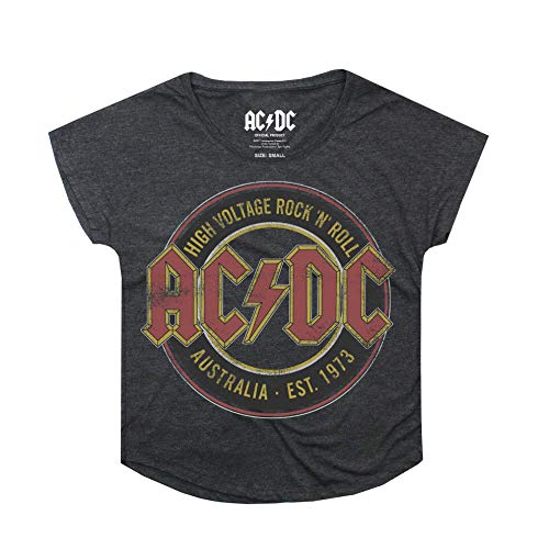 AC/DC Damen Logo T-Shirt Grey (Dark Heather Dkh) 42 (Hersteller Größe:X-Large)