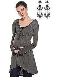 Modetrend Femme Mama Vêtements de Maternité Dentelle T-shirt Enceinte Grossesse Chemise Mini Robe Nursing Tops