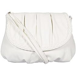 Bolso pequeño de mano para mujer, para llevar colgado al hombro tipo bandolera o en la mano, 23 x 14 cm, blanco (negro) - 3257