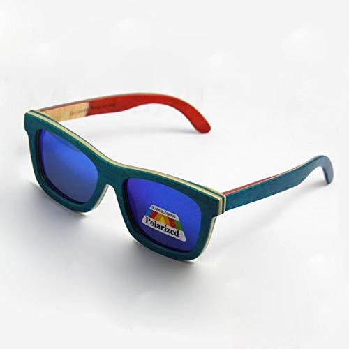Sonnenbrille,Neue Skateboard Holz Sonnenbrille Sommer Brillen Brillen Mit Polarisierten Linse Frei Grün Blau