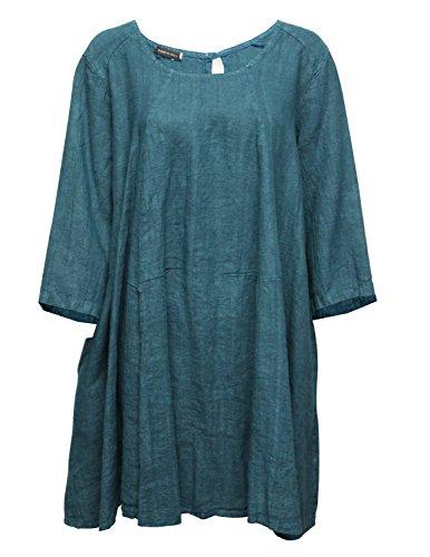 Robe mi-longue d'hiver manches 3/4 Bleu
