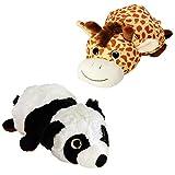 trendaffe Panda und Giraffe 2in1 Krempel Kuscheltier - Stofftier Plüschtier