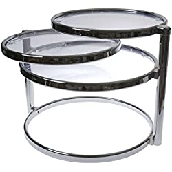 Leitmotiv Double Swivel Tisch, Kaffeetisch, Beistelltisch, Glas, Silber, Large