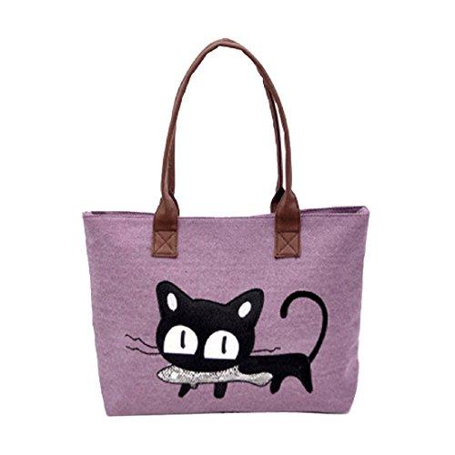 mujer hombro bolso - SODIAL(R) nuevo moda mujer bolsa de hombro lona lindo gato bolso oficina bolsa del almuerzo (purpura)