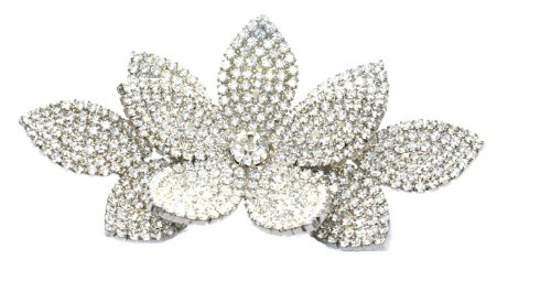 Swarovski Kristall-Viktorianischen Corsage Brosche (Silber-Ton) / Rhodium Plattiert Swarovski Kristall feines Brosche / Silber Blume-Broschen / Pins Kollektion Für Kleider & Handtaschen (Kristall-braut-handtasche)