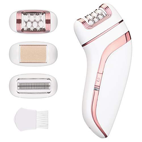 Epilierer Rasierer Elektrisch, 3 in 1 Ladyshaver Beauty-Kit. Scherkopf, Hornhautentfernerkopf und Epilierkopf, Wiederaufladbar, Haarentfernung für Körperpflege
