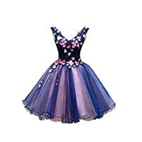 Drasawee Women Colorful Beaded Flower Prom Party Cocktail Dresses Empire V-Neck Short Homecoming Evening Gowns UK10