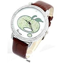 Selden - Montre Femme Bracelet Cuir Chocolat Pomme 183
