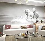 Papier Photo Personnalisé 3D Blanc Cheval Grand Papier Peint Murale Salon Canapé Papier Peint Murale Pour Murs De Chambre Papier De Contact, 250 * 175Cm