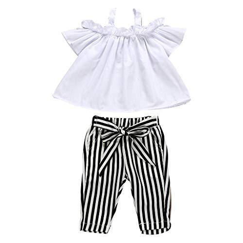 Mitlfuny Unisex Baby Kinder Jungen Zubehör Säuglingspflege,Kinder Baby Mädchen Bogen Spitze Halter gestreiftes T-Shirt Tops + Pants Outfit Kleidung Set