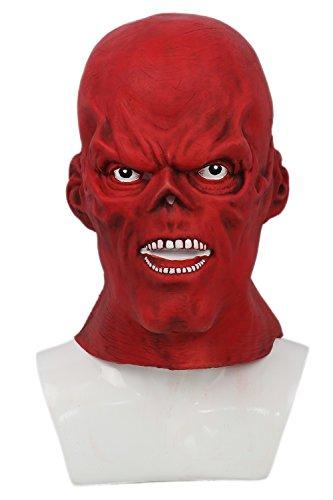 Xcoser Rot Maske Letax Voller Kopf Helm Skull Cosplay Kostüm Zubehör für Halloween Kleidung Verrücktes Kleid ()