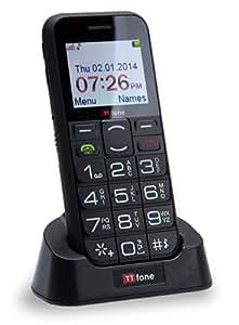 TTfone Saturn Bluetooth Senior Mobile Phone Easy Basic Simple Big Button Phone Camera Sim Free Black