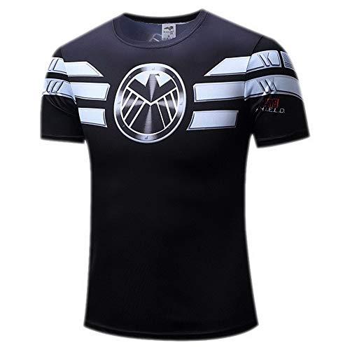 HOOLAZA S.H.I.E.L.D. Männer Kurzarm Kompression Herren T-Shirt Fitness Sport Gym Compression Avengers Short Shirt Herren Gym Beim Training T-Shirt