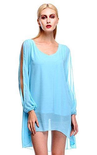 ZEARO Damen Elegant Minikleid Strandkleid Partykleid Cocktailkleid Abendkleid Hellblau