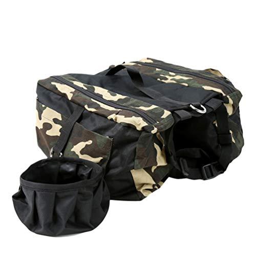 Hunderucksack Wasserdicht Atmungsaktiv Oxford Stoff Satteltasche Jagdhund Rucksack Wanderbekleidung mit Wasserschale für Camping Travel Traning Walking -