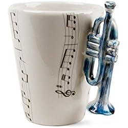 Trompeta Taza de Café Hecho a Mano 8oz Azul (10cm x 8cm)